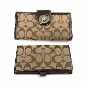 Coach Womens Wallet Bifold Turnlock Checkbook